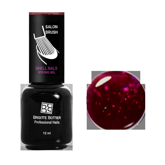 BRIGITTE BOTTIER 981 гель-лак для ногтей, красный с большими блестками / Shell Nails 12 мл