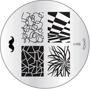 KONAD Форма печатная (диск с рисунками) / image plate M98 10грСтемпинг<br>Диск для стемпинга Конад М98 с гипнотическими узорами. Несколько видов изображений, с помощью которых вы сможете создать великолепные рисунки на ногтях, которые очень сложно создать вручную. Активные ингредиенты: сталь. Способ применения: нанесите специальный лак&amp;nbsp;на рисунок, снимите излишки скрайпером, перенесите рисунок сначала на штампик, а затем на ноготь и Ваш дизайн готов! Не переставайте удивлять себя и близких красотой и оригинальностью своего маникюра!<br>