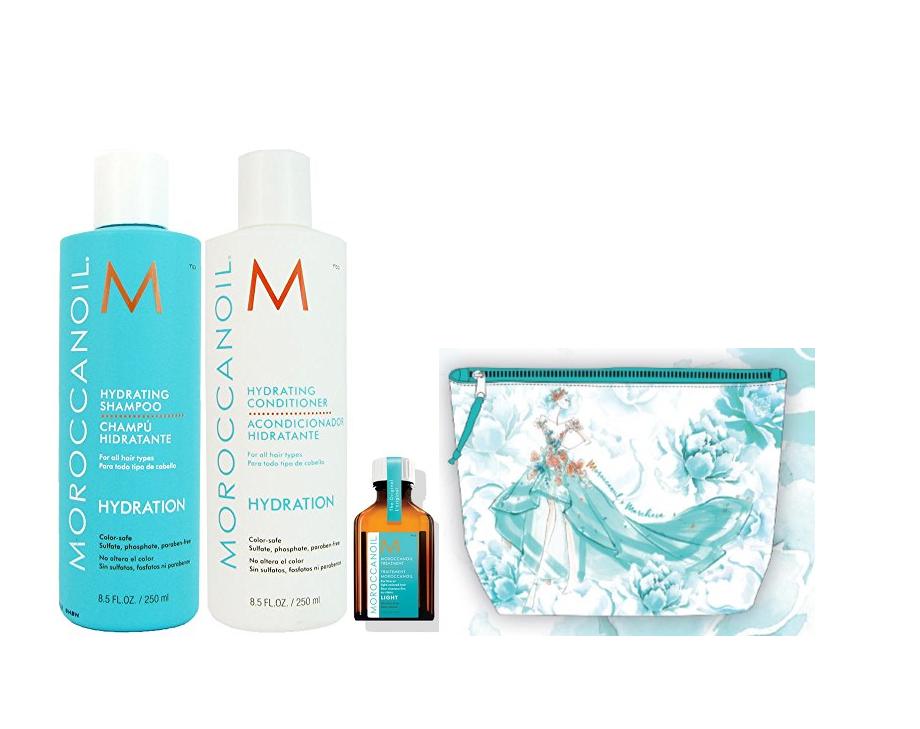MOROCCANOIL Набор для волос Увлажнение (шампунь 250 мл, кондиционер 250 мл, средство восстанавливающее light 25 мл, косметичка) Moroccanoil