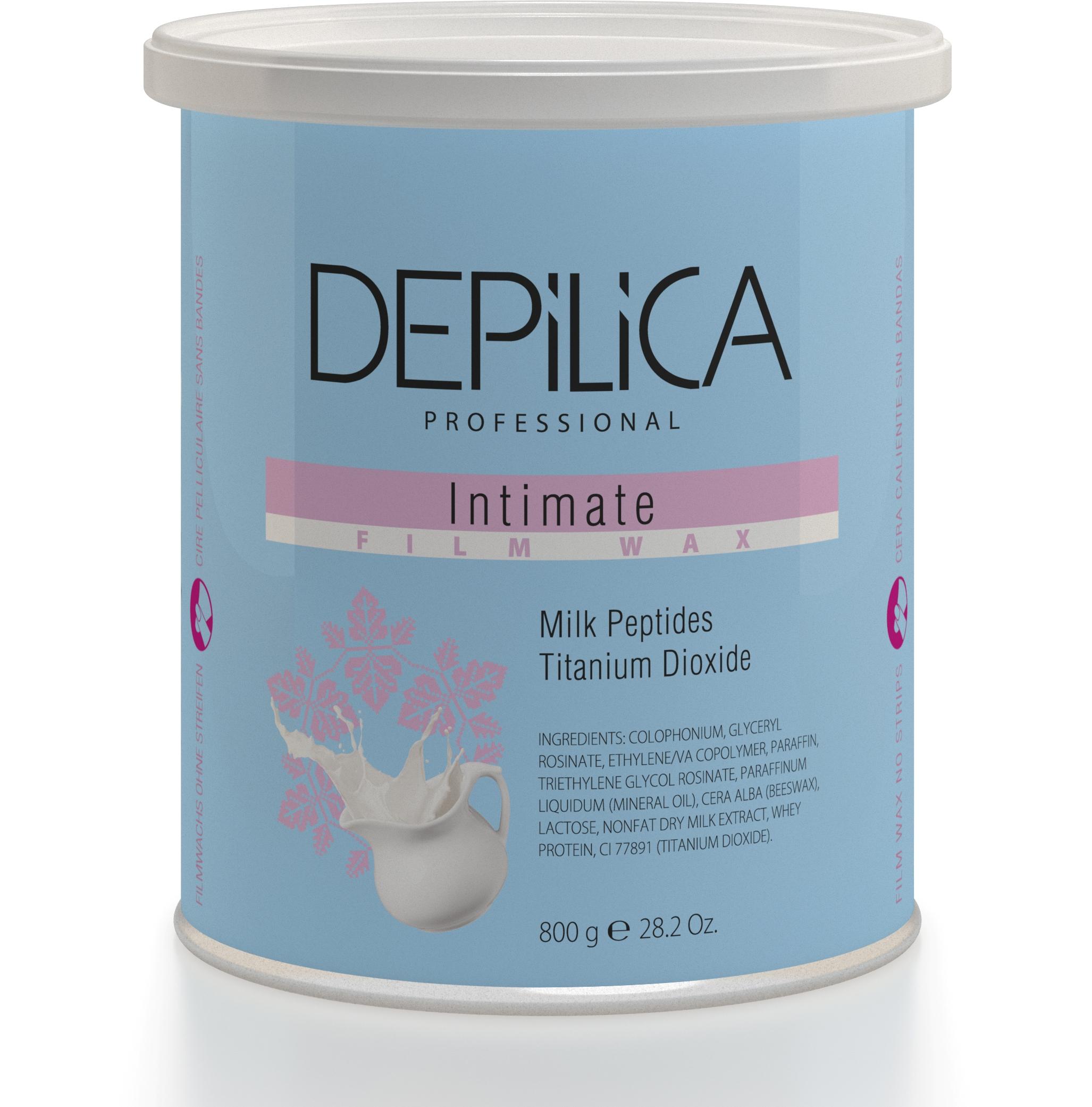 DEPILICA PROFESSIONAL Воск пленочный для интимной эпиляции / Intimate Film Wax 800грВоски<br>Молочные пептиды в составе воска предотвращают раздражение кожи, оказывают заживляющее действие. Диоксид титана смягчает кожу. Особо пластичная кремовая текстура обеспечивает эффективную эпиляцию деликатных зон. Идеален для удаления жестких волос.<br>