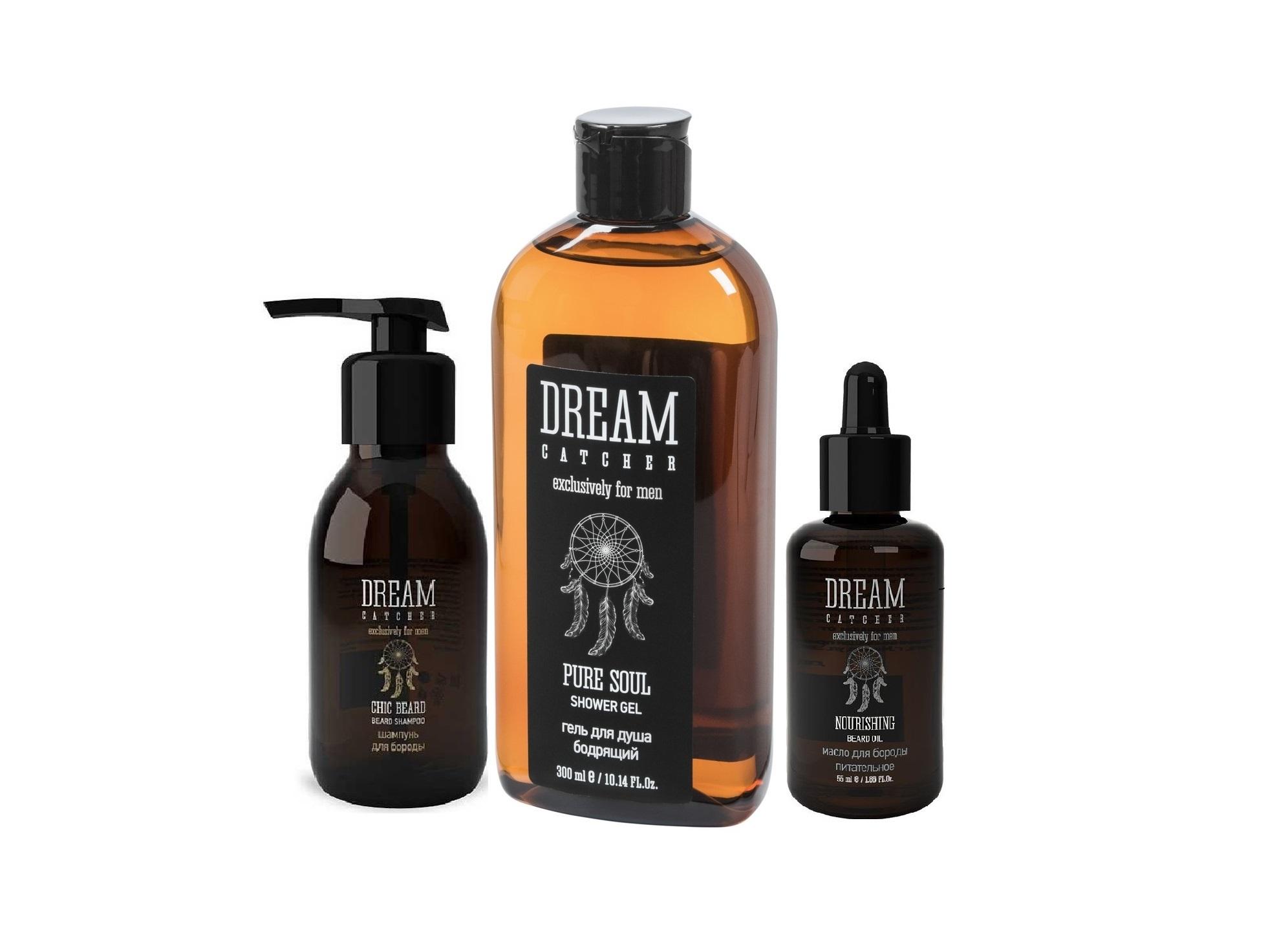 DREAM CATCHER Набор подарочный №3 для мужчин (шампунь для бороды 125 мл, масло питательное для бороды 55 мл, гель для душа 300 мл) DREAM CATCHER