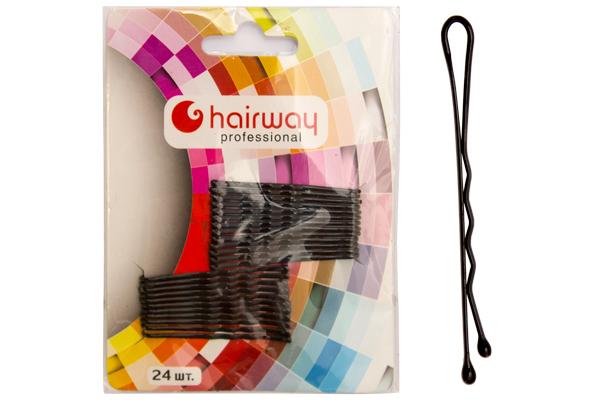 HAIRWAY Невидимки Hairway 50мм черные волнистые 24шт/уп стайлер hairway hairstyle 04108