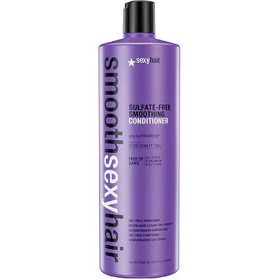 SEXY HAIR Кондиционер разглаживающий без сульфатов / SMOOTH 1000млКондиционеры<br>Преобразуют пушащиеся, волнистые и кудрявые волосы в гладкие мягкие блестящие. Разглаживает кутикулу, придавая максимальный блеск. Не содержит сульфатов, клейковины, парабенов и солей. Обеспечивает гладкость, мягкость, блеск и баланс влаги. Сохраняет стойкость кератинового и химического выпрямления, работает на наращённых волосах. Кокосовое масло помогает бороться с пушистостью и достигать максимально гладких результатов на продолжительное время. Укрепляет и защищает волосы от повреждений и ломкости. Активные ингредиенты: кокосовое масло.<br><br>Вид средства для волос: Разглаживающий