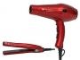 Фен Ruby Ceramic Ionic красный 1900-2100W + Щипцы Ruby Iron 65W, HAIRWAY