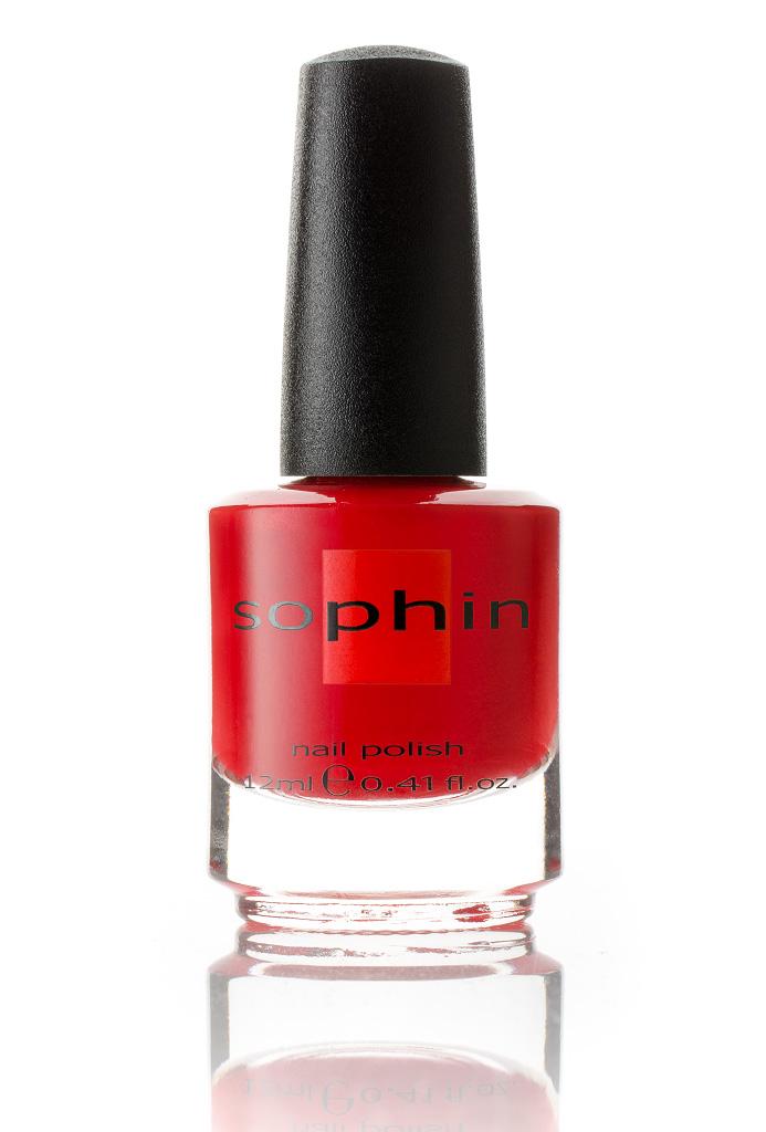 SOPHIN Лак для ногтей, красное с каплей оранжевого желе 12мл