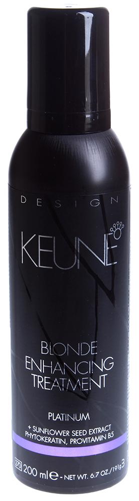 KEUNE Мусс корректирующий для блондированных волос / BLONDE ENHANCING TREATMENT 200млМуссы<br>Мусс для мелированных, обесцвеченных и осветленных волос. Нейтрализует желтый оттенок и придает волосам блеск и объем. Активный состав: Содержит фитокератин, который укрепляет и питает волосы. Провитамин В5 регулирует баланс влажности. Содержит кукурузный, пшеничный и соевый протеины, которые придают волосам объем и прекрасный блеск. Применение: Корректирующий мусс для блондированных волос подходит для домашнего применения, может применяться ежедневно.<br><br>Цвет: Блонд<br>Объем: 200<br>Типы волос: Окрашенные