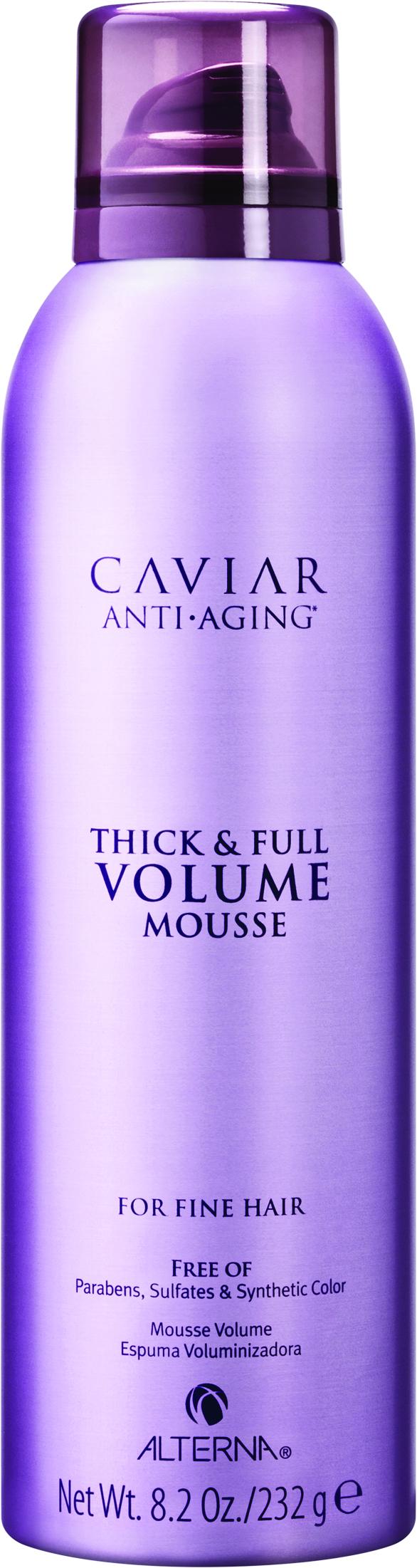ALTERNA Пена для создания объема и уплотнения волос / Caviar Anti-Aging Thick &amp; Full Volume Mousse 232грПенки<br>Универсальная пена для увеличения объема и плотности волос. Способствует укреплению структуры волос, придает им новую силу и эластичность, предотвращает появление видимых признаков старения волос. Пена позволяет создавать необходимую текстуру и фиксацию, выравнивая поверхность кутикулы волос. Способ применения: нанесите оптимальное количество пены (эквивалент грецкого ореха) на вымытые, подсушенные полотенцем волосы. Равномерно распределите по поверхности волос и кожи головы. Тщательно вотрите руками, при необходимости расчешите. Выполните укладку с использованием инструментов (фен, утюг, щипцы, термощетки, диффузор).<br><br>Типы волос: Для всех типов