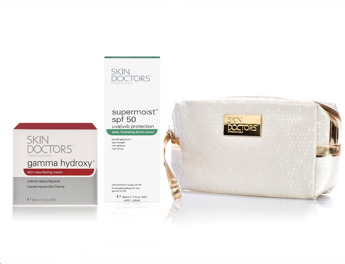 SKIN DOCTORS Набор Пилинг эффект для лица (обновляющий крем 50 мл, солнцезащитный крем 50 мл, косметичка) Skin Doctors -  Наборы