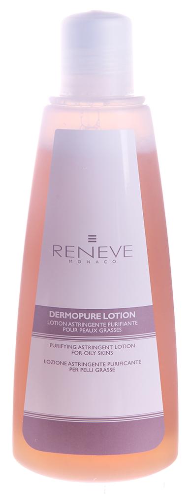 RENEVE Лосьон очищающий, стягивающий поры для жирной кожи / Dermopure Lotion 200млЛосьоны<br>Очищающий лосьон создан специально для комбинированного и жирного типов кожи. Гарантия максимального эффекта без побочных последствий. Благодаря своим суживающим поры свойствам выравнивает кожу, придавая ей свежесть и здоровый цвет. Использовать ежедневно! Активные ингредиенты: экстракт ивы, шалфея и бетаглюкан придают лосьону ярко выраженные противоспалительные и иммуномодулирующие свойства, которые придает ему синергия салицинов и таннинов с полисахаридом бетаглюканом Способ применения: нанести небольшое количество тоника на ватный диск и провести тонизацию кожи лица, шеи и декольте.<br><br>Вид средства для лица: Очищающий