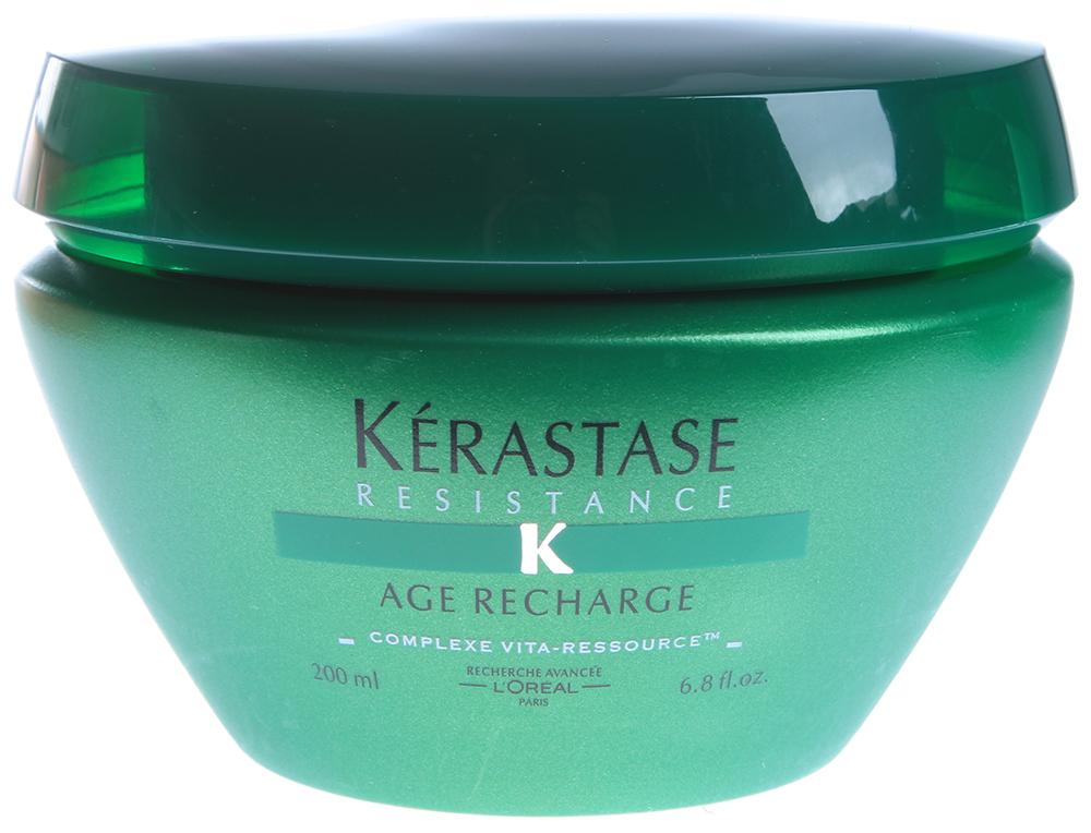 KERASTASE Маска антивозрастная / AGE-RECHARGE 200млМаски<br>Уход для волос, теряющих материю. Кожа головы мгновенно увлажняется и смягчается. Усиливает сопротивляемость волос времени, делает их блестящими и шелковистыми. Активные ингредиенты:   Комплекс Vita-Refill   Глицерол Способ применения: нанесите на влажные волосы. Массирующими движениями распределите средство, тщательно смойте. При необходимости повторить.<br>