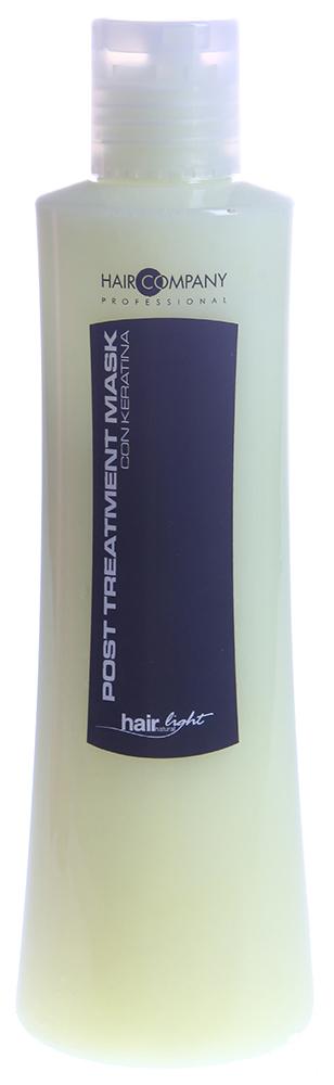 HAIR COMPANY Маска восстанавливающая для волос / Post Treatment Mask HAIR LIGHT 250млМаски<br>Восстанавливающая маска с кератиновыми протеинами, придает эластичность волосам, делая их мягкими и питая естественными аминокислотами, содержащимися в молекулярной структуре волос. Выравнивает уровень рH, сглаживает чешуйки, избегая преждевременного смывания пигмента после химической завивки, выпрямления и окрашивания, помогает волосам восстановить необходимый водный баланс. Активный состав: Кератиновые протеины, аминокислоты.  Применение: Нанести на вымытые шампунем Post Treatment и подсушенные волосы. Оставить на 3-5 минут и смыть водой.<br><br>Объем: 250<br>Вид средства для волос: Восстанавливающий<br>Типы волос: Окрашенные