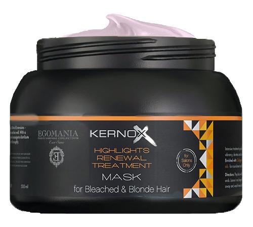 EGOMANIA Маска для обесцвеченных волос / KERNOX MIX BLOND 500 млМаски<br>Маска предназначена для поддержания и усиления холодных оттенков блонд и для интенсивного восстановления обесцвеченных, осветлённых и мелированных волос. Служит основным источником белков, масел и экстрактов трав. Действие маски может быть значительно усилено специальным коктейлем системы восстановления обесцвеченных, осветлённых и мелированных волос. Активные ингредиенты: экстракт женьшеня, масло сладкого миндаля, масло оливы, масло виноградных косточек, масло ши, масло жожоба, масло семян огуречника лекарственного (бурачника), масло аргана, протеины пшеницы, гидролизированный коллаген. Способ применения: нанесите маску на чистые, отжатые полотенцем волосы, равномерно распределяя пальцами от корней до концов волос. Время выдержки от 5 до 15 минут (в зависимости от степени повреждения волос). Тщательно смойте маску с волос теплой водой. Для более интенсивного восстановления поврежденных волос добавьте в маску коктейль для обесцвеченных, осветленных и мелированных волос в пропорции 50 грамм маски и 2,5 грамма (1 саше) коктейля. Только для наружного применения. При возникновении раздражения кожи прекратите использование. Избегайте попадания в глаза.<br><br>Типы волос: Окрашенные