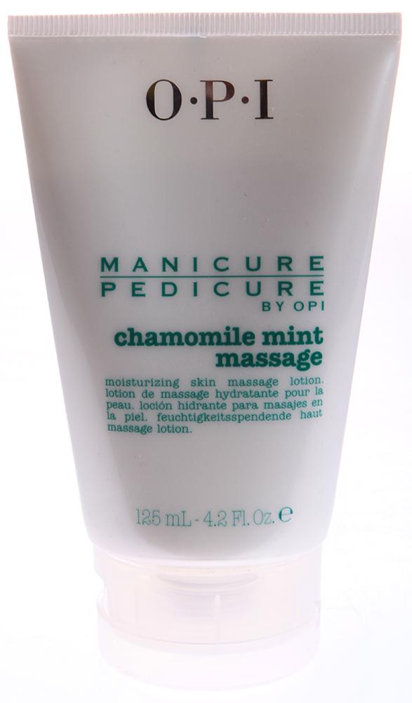 OPI Лосьон массажный Ромашка-мята / Manicure-Pedicure Chamomile Mint Lotion 125млЛосьоны<br>Лосьон-крем массажный Ромашка-Мята Chamomile Mint Lotion содержит экстракт ромашки, который очищает и успокаивает кожу, защищая ее от вредных воздействий окружающей среды. Витамины лечат и защищают кожу. Кроме того, экстракт мяты великолепно освежает кожу. Результат. Идеальный уход без ощущения жирной пленки на коже. Активные ингредиенты: Экстракт ромашки, витамины, экстракт мяты. Способ применения:  Нанести массажными движениями на высушенные полотенцем руки или ступни.<br><br>Вид средства для тела: Массажный