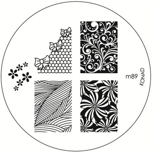 KONAD Форма печатная (диск с рисунками) / image plate M89 10грСтемпинг<br>Диск для стемпинга Конад М89 очень популярен среди любительниц стемпинга, т.к. на нем представлены одни из самых эффектных узоров. Несколько видов изображений, с помощью которых вы сможете создать великолепные рисунки на ногтях, которые очень сложно создать вручную. Активные ингредиенты: сталь. Способ применения: нанесите специальный лак&amp;nbsp;на рисунок, снимите излишки скрайпером, перенесите рисунок сначала на штампик, а затем на ноготь и Ваш дизайн готов! Не переставайте удивлять себя и близких красотой и оригинальностью своего маникюра!<br>