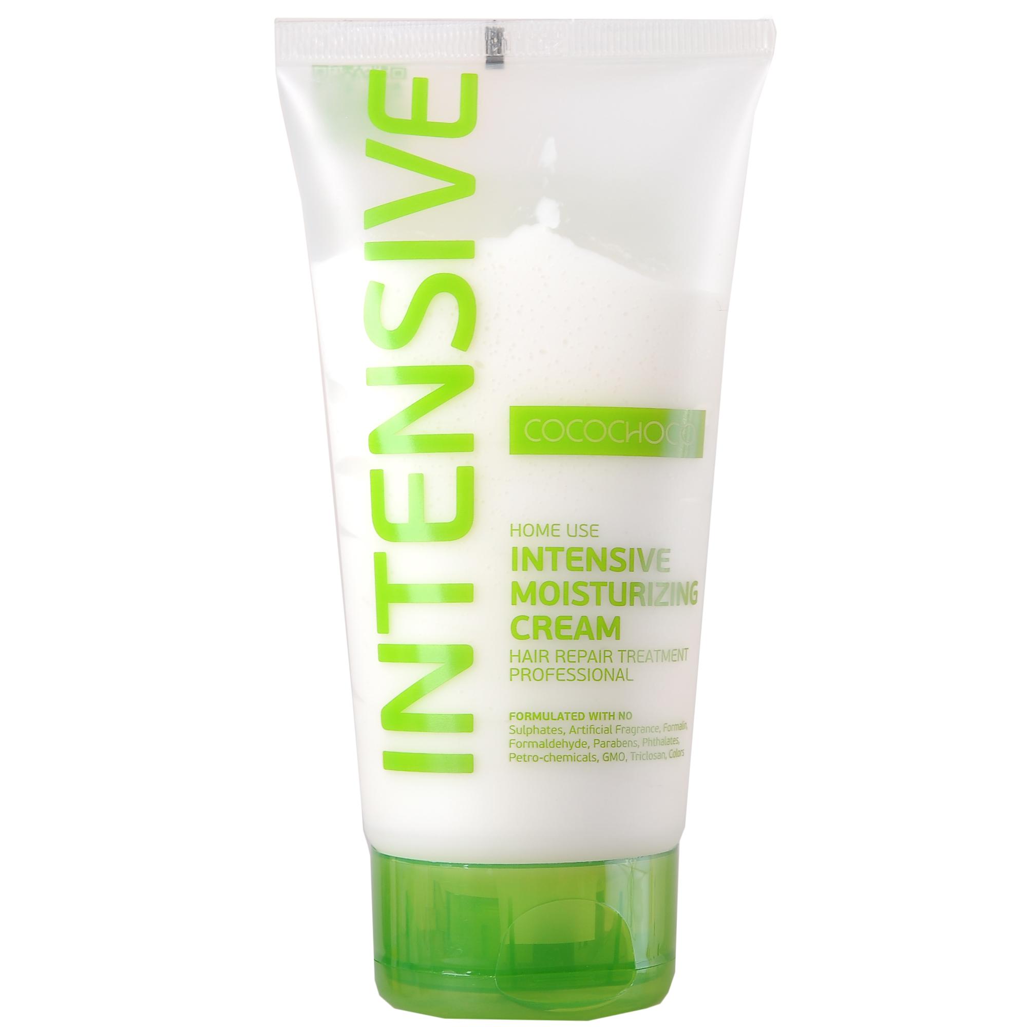 COCOCHOCO Крем-маска для суперинтенсивного увлажнения / INTENSIVE 150 млМаски<br>Крем-маска Intensive Moisturizing Cream для интенсивного увлажнения помогает мгновенно обогатить влагой сухие, пористые, повреждённые волосы. После применения маски волосы становятся гладкими, блестящими, послушными, легко расчёсываются и не требуют много времени для укладки. В случае, если ваши волосы очень повреждены после процедуры окрашивания, маску рекомендуется не смывать. Способ применения: нанесите на подсушенные полотенцем волосы по длине и на концы, прочешите. Оставьте на 5-10 минут, тщательно смойте. Использовать 1-2 раза в неделю. Активные ингредиенты: KERAMIMIC   натуральный кватернизированный кератин, технология биомиметики воссоздает материю волоса, восстанавливает полипиптидные цепочки, саморегулируемая формула. MIRUSTYLE   снижает пушистость, придает гладкость волосам, отлично работает как на прямых, так и на вьющихся волосах. LUSTRAPLEX   интенсивный компонент глубокого действия, распутывает волосы и облегчает расчесывание, придает сияние и блеск.<br><br>Тип: Крем-маска<br>Объем: 150 мл