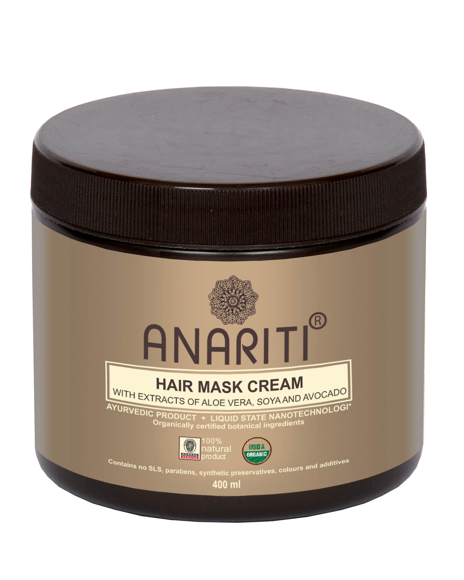 ANARITI Маска-крем для волос с экстрактами алоэ вера, сои и авокадо 400 млМаски<br>Рекомендуется для быстрого и интенсивного восстановления очень поврежденных волос, сухих и с секущимися концами. Экстракт алоэ вера нормализует водный баланс и насыщает внутренние структуры волоса минералами, витаминами и аминокислотами. Масло авокадо питает волосы и кожу головы, восстанавливает их структуру. Протеины сои проникают глубоко внутрь волос, питают, укрепляют и увлажняют их, предохраняя от негативного воздействия солнечных лучей и окружающей среды. &amp;nbsp;Аминокислоты протеинов шелка регенерируют поврежденные молекулы кератина, восстанавливая их физиологическую целостность. После применения маски поврежденные волосы приобретают плотную текстуру, гладкость, мягкий блеск и жизненную силу. Активные ингредиенты: экстракт алое вера, кокос, дериватив глицина сои, экстракт дикого шафрана (сафлора), экстракт авокадо, протеины шелка, масло зародышей пшеницы, масло жожоба, экстракт миндаля, экстракт грецкого ореха, экстракт индийского женьшеня (физалиса), вода, краситель   жожоба, отдушка   жожоба, консервант   масло чайного дерева. Способ применения:&amp;nbsp;нанести маску на чистые, влажные волосы (избыток воды на волосах промокнуть полотенцем) начиная с корней и равномерно распределить по всей длине, уделяя особое внимание поврежденным участкам. Выдержать 15-20 минут, после чего смыть большим количеством воды.<br><br>Объем: 400 мл<br>Назначение: Секущиеся кончики