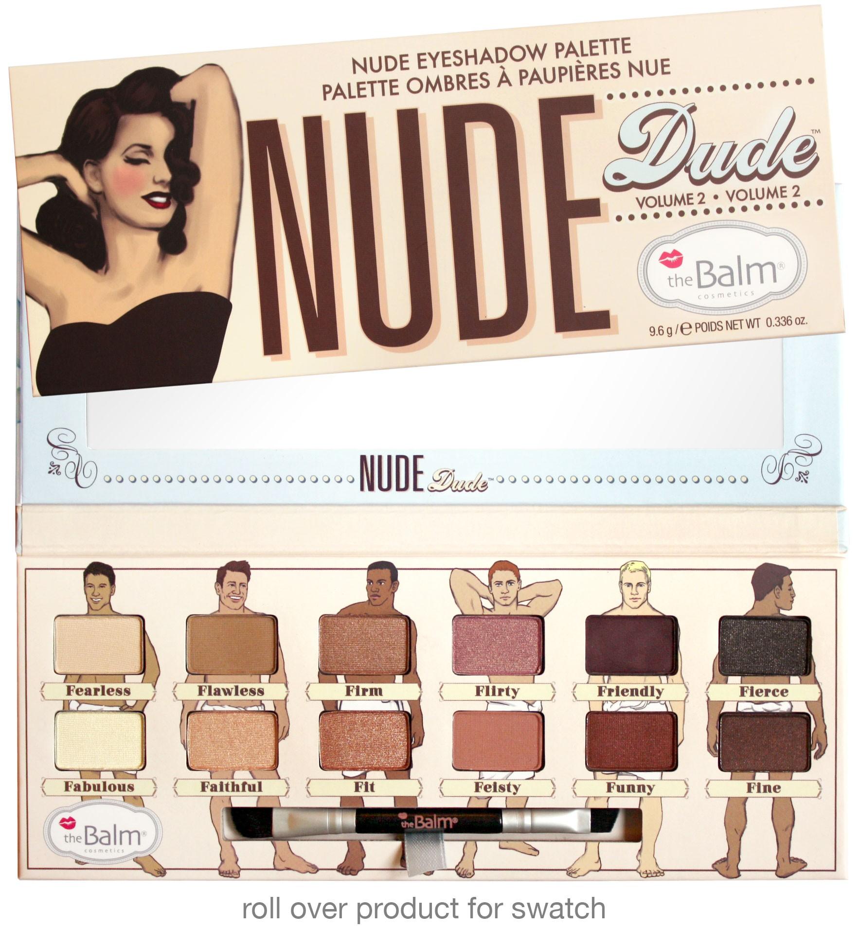THE BALM Палетка теней / Nude DudeТени<br>Палетка теней Nude Dude. Палетка для макияжа. Включает 12 оттенков с атласной сатинированной текстурой. В комплекте   кисть с двумя рабочими краями: для нанесения и растушевки теней и для контуринга век (скошенная). Зеркало   в упаковке. Способ применения: используются для создания различных видов макияжа: легкий дневной (nude-макияж), яркий вечерний, выразительный для особых случаев. Текстура и насыщенность оттенков позволяют применять их для создания линий подводки.<br>