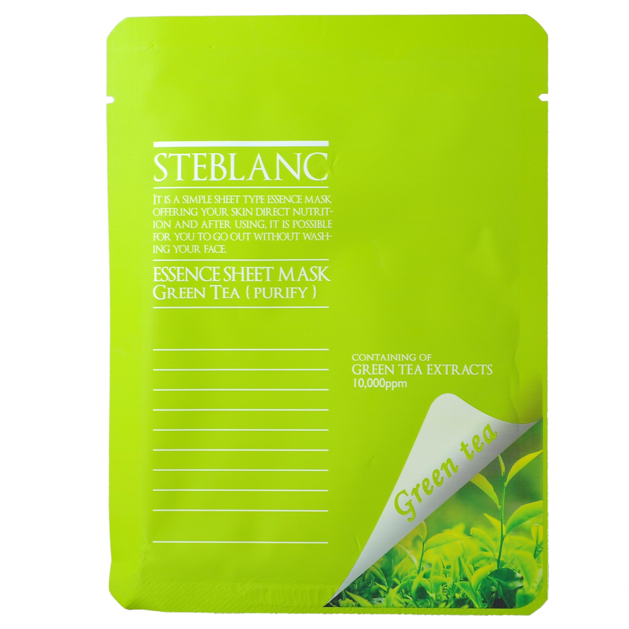 STEBLANC Маска очищающая с экстрактом зеленого чая для лица / ESSENCE SHEET MASK 20грМаски<br>Маска из высококачественного нетканного материала с активными компонентами. Экстракт зеленого чая помогает контролировать выработку кожного сала и успокаивает раздраженную кожу. Маска поддерживает кожу чистой и мягкой. Экстракт чайного дерева и центеллы помогает Вашей коже поддерживать необходимый баланс влаги и контролирует работу сальных желез. За счет высококачественного материала маска обладает высокой адгезией и плотно прилегает к лицу. Таким образом, кожа способна быстро впитывать активные компоненты. Вы сможете почувствовать разницу от других существующих продуктов уже после первого применения. Активные ингредиенты: экстракт зеленого чая, экстракт чайного дерева, экстракт центеллы, пантенол, экстракт портулака, сок листьев алоэ вера, экстракт розмарина, гидролизованный коллаген, гиалуронат натрия . Способ применения: снимите макияж и умойте лицо. На очищенную кожу плотно нанесите маску. Расслабьтесь на 10-20 минут, промокните кончиками пальцев маску на лице, затем удалите.<br>