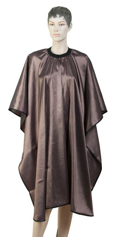 DEWAL PROFESSIONAL Пеньюар для стрижки Глянец, полиэстер, на крючках, коричневый 128х146 см