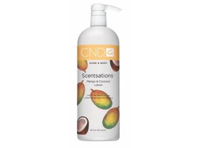 CND Лосьон для рук и тела Манго &amp; Кокос / SCENTSATIONS 916млЛосьоны<br>Лосьоны для рук и тела. Содержат витамины А, Е, экстракт Алоэ Вера, которые увлажняют, смягчают кожу и регулируют ее кислотно-щелочной баланс. Коллекция состоит из лосьонов с экстрактами и запахами на любой вкус. Лосьоны можно использовать на заключительной стадии любого вида маникюра, а также для домашнего ухода за руками и телом.<br><br>Класс косметики: Домашняя