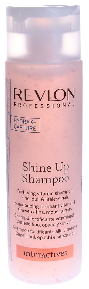 REVLON Шампунь укрепляющий витаминизирующий для волос / INTERACTIVES SHINE UP 250млШампуни<br>Шампунь для волос укрепляющий, витаминизирующий Shine Up Shampoo помогает справиться с проблемой выпадения волос, бережно очищает кожу головы и не нарушает гармоничного баланса кожного покрова. Профессиональная формула средства обогащена витаминами и олигоэлементами, которые помогают укрепить волосяные луковицы и заметно усилить рост волос. Шампунь способствует активизации кровообращения и регуляции обменных процессов, происходящих в коже головы и волосах. Система Hydra Capture придает максимум блеска, силу и шелковистость тонким, тусклым и безжизненным волосам.  Активные ингредиенты: Витамины, олигоэлементы, система Hydra Capture.  Способ применения: Небольшое количество шампуня равномерно распределить по поверхности влажных волос, вспенить, смыть водой.<br><br>Вид средства для волос: Укрепляющая<br>Класс косметики: Профессиональная<br>Назначение: Выпадение
