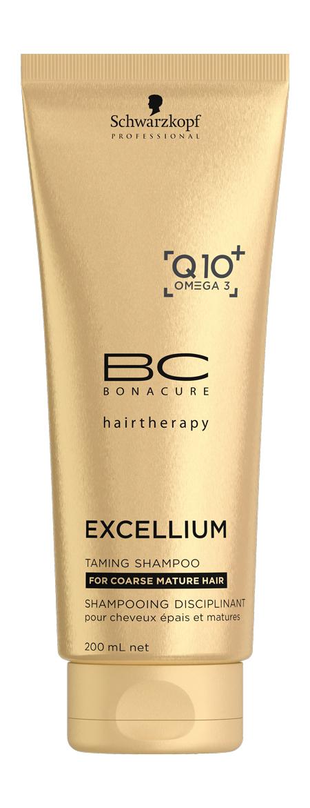 SCHWARZKOPF PROFESSIONAL Шампунь смягчающий Экселиум / ВС 200 млШампуни<br>Шампунь предназначен для ухода за жесткими, окрашенными зрелыми волосами. Смягчающий комплекс, входящий в состав средства, активно увлажняет и распутывает вьющиеся волосы, омолаживает их, защищая от потускнения оттенок, эффективно снимает напряжение кожи головы. Волосы становятся гладкими и наполненными жизненной силой. Активные ингредиенты: вещество, обнаруженное в каждой клетке человека и незаменимое при воспроизводстве энергии, это мощные коэнзимы Q10+. Они стимулируют корни волос для выработки кератина. Omega 3 - это известный ингредиент в пищевой и косметической промышленности. Он поставляет базовые липиды в состав волос и кожи головы, что позволяет поддерживать их в оптимальном состоянии и предотвратить появление признаков старения. Способ применения: нанесите на влажные волосы. Помассируйте и тщательно смойте.<br>