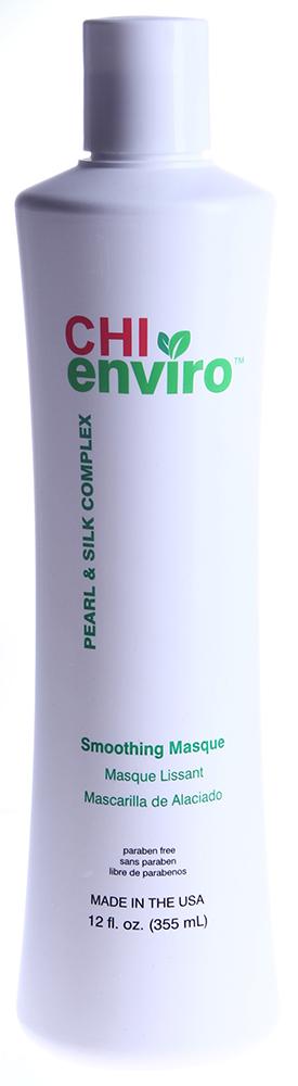 CHI Маска разглаживающая Чи Энвайро 355млМаски<br>Восстанавливает сухие и поврежденные волосы. Ph сбалансированная, pH=2.0-2.5. Без парабенов. Активные ингредиенты: протеины шелка, жемчужный комплекс. Способ применения: при ежедневном использовании оставьте на волосах на 3-5 минут. Для интенсивного ухода оставить на 15 минут под горячим полотенцем или под слабым теплом.<br><br>Назначение: Секущиеся кончики