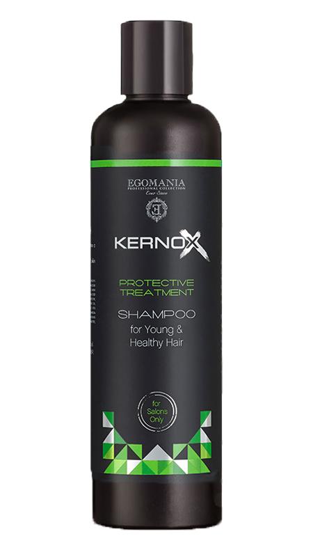 EGOMANIA Шампунь для молодых и здоровых волос / Kernox Eco Lamination 250 млШампуни<br>Шампунь для юных и здоровых волос предназначен для детоксикации волос и кожи головы. Полностью очищает структуру волос от накоплений полимеров, минералов, химических элементов и продуктов распада гормонов и антибиотиков. Идеально подходит для очищения сухих и пористых волос. Активные ингредиенты: основным действующим компонентом шампуня является окись никотиновой (никтановой) кислоты, которая обеспечивает глубокое проникновение активных компонентов продуктов профессиональной терапии KERNOX ECOLAMINATION в глубокие слои волос. Натуральные компоненты - экстракт косточек грейпфрута и витамин E, масла плодов шиповника и примулы вечерней, экстракт семян жожоба и вода Мертвого моря оказывают терапевтический эффект. Способ применения: использовать 10-20 мл шампуня. В зависимости от степени загрязнения, 1-2 нанесения шампуня. Время выдержки на волосах 3-5 минут. Смыть. Волосы тщательно отжать полотенцем. Далее используйте маску системы для защиты, разглаживания и блеска пористых волос. Подходит для ежедневного использования. Только для наружного применения. При возникновении раздражения кожи прекратите использование. Избегайте попадания в глаза.<br><br>Время применения: Ежедневный