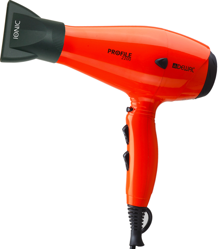 DEWAL PROFESSIONAL Фен Profile 2200 оранжевый, ионизация, 2 насадки, 2200Вт