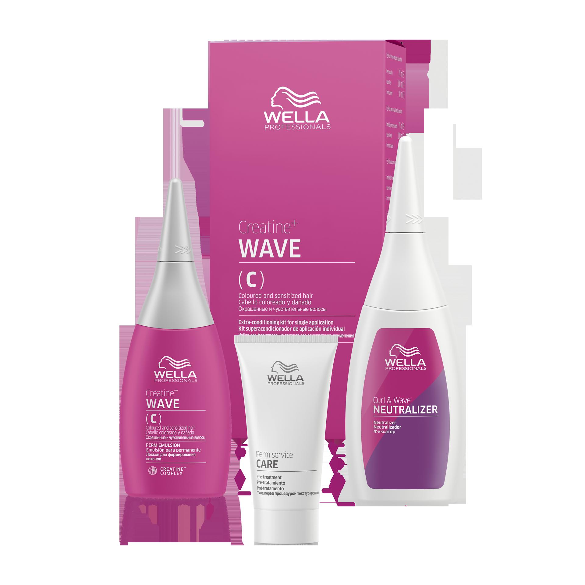 Купить WELLA PROFESSIONALS Набор для окрашенных и чувствительных волос (лосьон 75 мл, фиксатор 100 мл, уход 30 мл) CREATINE+ WAVE
