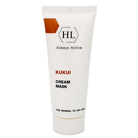 HOLY LAND Маска для сухой кожи / Cream Mask For Dry Skin KUKUI 70млМаски<br>Питательная крем-маска для нормальной и сухой кожи, особенно увядающей, обезвоженной и поврежденной. Питает и смягчает кожу, восстанавливает водно-липидную мантию. Предотвращает обезвоживание кожи и образование морщин. Повышает эластичность, выравнивает текстуру кожи, делает ее более гладкой. Предотвращает раздражение, ускоряет заживление микроповреждений кожи. Активные ингредиенты:&amp;nbsp;масло ореха кукуи, масло ореха макадамии. Способ применения: наносить маску 2-3 раза в неделю на чистое лицо, веки, шею и декольте. Не смывать. Маска может использоваться в качестве ночного крема или после масляного концентрата KUKUI Oil.<br><br>Тип: Крем-маска<br>Объем: 70<br>Назначение: Морщины<br>Время применения: Ночной