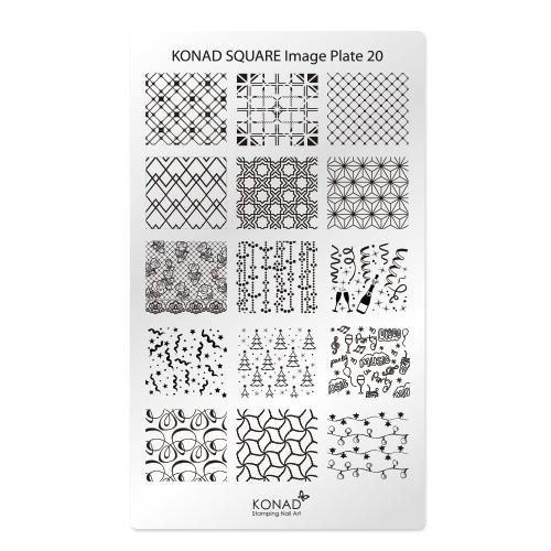 KONAD Пластина прямоугольная / Square Image Plate20 30грСтемпинг<br>Новогодняя зимняя пластина Square Image Plate 20 - это настоящая зимняя сказка с гирляндами, шампанским, елочками и конфети. Это продолжение зимней тематики которую представляет пластина Square Image Plate 10. Пластины для стемпинга также называют плитками. На них Вы найдете гораздо больше рисунков для ногтей, чем на обычных дисках. Размер каждого принта 23 х19 мм и поэтому вы можете наносить рисунок не только как он расположен на пластине, но и по диагонали, отлично подойдет как для коротких, так для длинных и широких ногтей. Активные ингредиенты: сталь Способ применения: нанесите специальный лак&amp;nbsp;на рисунок, снимите излишки скрайпером, перенесите рисунок сначала на штампик, а затем на ноготь и Ваш дизайн готов! Не переставайте удивлять себя и близких красотой и оригинальностью своего маникюра!<br>