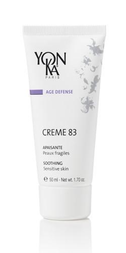 YON KA Крем Creme 83 / AGE DEFENSE 50млКремы<br>Данный крем предназначен для максимальной адаптации сухой и чувствительной кожи к воздействию окружающей среды. Он прекрасно снимает гиперчувствительность кожи, отлично успокаивает ее. Активные ингредиенты: эфирные масла лаванды розмарина, кипариса, герани, тимьяна, экстракты липы и календулы. Способ применения: наносится утром на очищенную кожу, после использования лосьона Yon-Ka.<br>