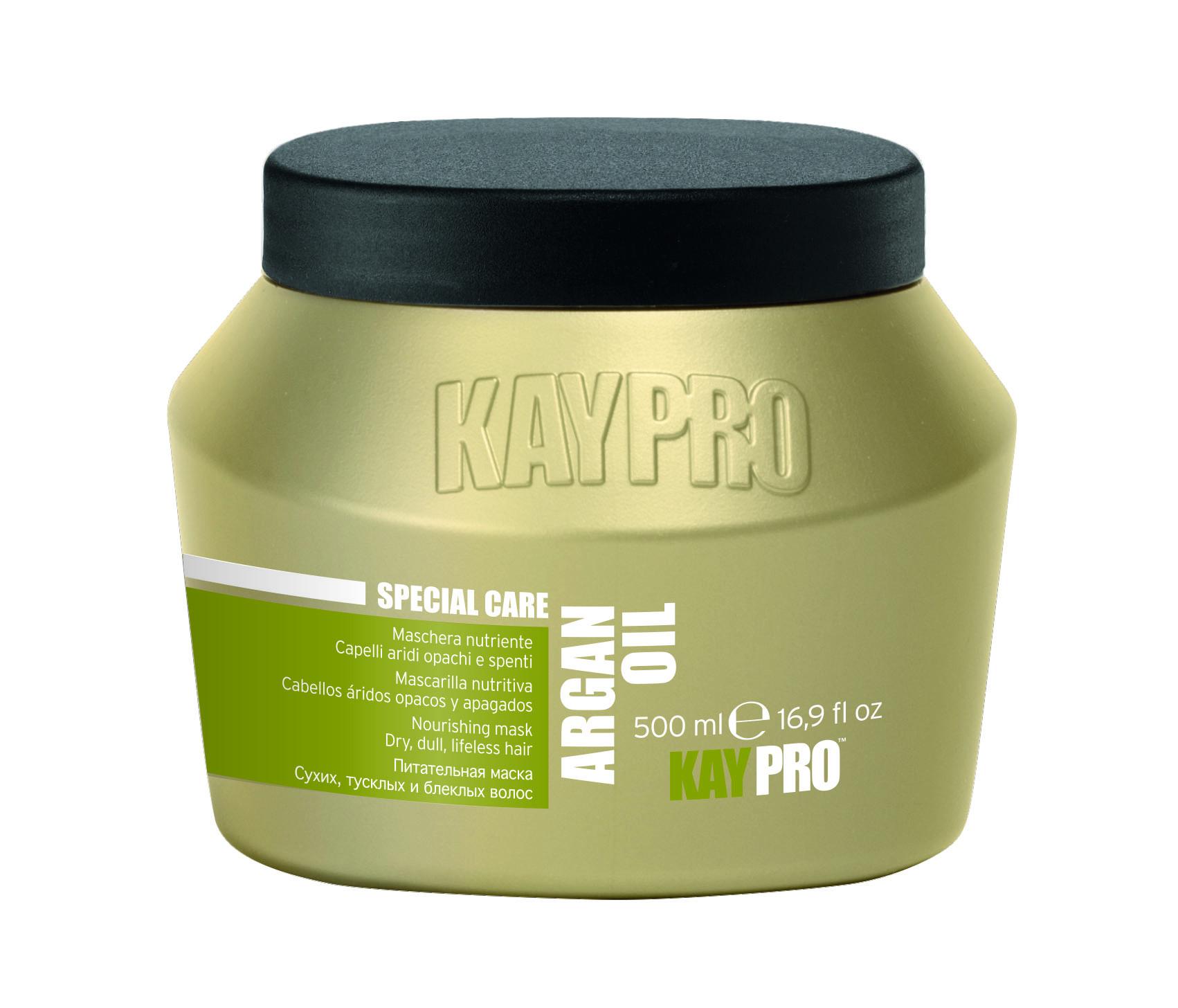 KAYPRO Маска питательная с аргановым маслом / KAYPRO 500млМаски<br>Интенсивно увлажняет, питает, восстанавливает волосы из глубины, дарит волосам жизненную силу. Делает их легко расчесываемыми, блестящими, эластичными и шелковистыми. Активные ингредиенты: аргановое масло. Способ применения: после использования шампуня нанести на влажные волосы по всей длине и расчесать. Оставить действовать на 3-5 минут, после чего смыть водой.<br><br>Объем: 500 мл<br>Вид средства для волос: Питательный<br>Типы волос: Поврежденные