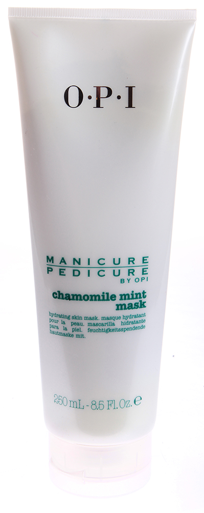 OPI Маска для рук и ног Ромашка-мята / Manicure-Pedicure Chamomile Mint Mask 250млМаски<br>Интенсивно увлажняющая и питающая маска с глиной, маслом авокадо и карите (Ши). Экстракт ромашки очищает и успокаивает кожу. Плюс нежный освежающий аромат мяты! Увлажняет, омолаживает и тонизирует кожу рук и ног благодаря содержанию масла дерева ши. Экстракт ромашки очищает и успокаивает кожу, защищая ее вредных воздействий окружающей среды; экстракт мяты освежает.  Способ применения: После использования скраба Ромашка и Мята, нанесите маску тонким слоем на кожу рук и ног. Спустя 5 минут удалите влажным теплым полотенцем или смойте водой. Интенсивно увлажняет, особенно эффективна в виде компрессов под целлофановой пленкой: нанесите обильно маску, покройте пленкой и сверху &amp;ndash; полотенцем, подождите 20-30 минут, смойте теплой водой и вытрите полотенцем.<br>