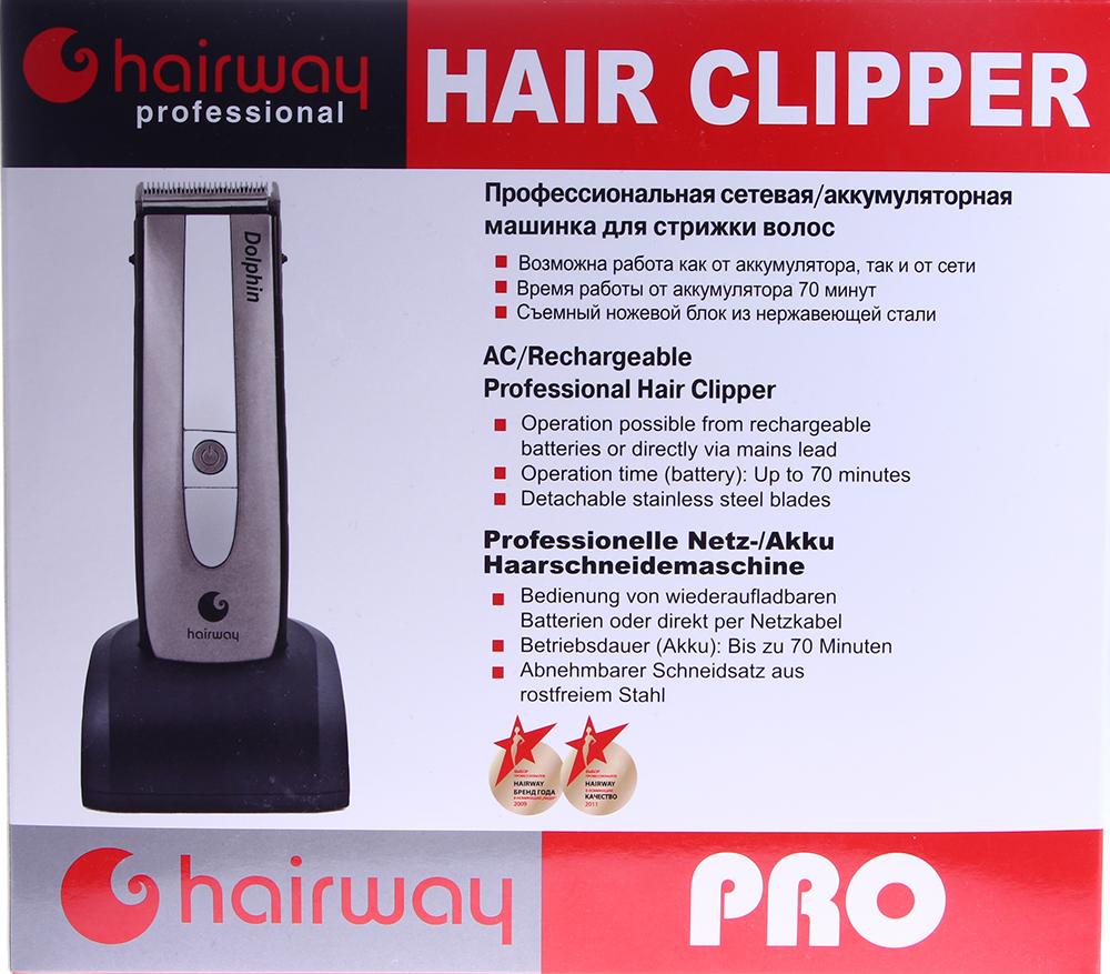 HAIRWAY Машинка HW Dolphin для стрижки с комбинированным питаниемМашинки для стрижки<br>Машинка для стрижки волос Hairway DOLPHIN:  - комбинированное питание от сети или от аккумулятора; - каучуковое покрытие корпуса препятствует скольжению в руке; - эргономичный дизайн и оптимальная балансировка веса; - регулируемый нож из высококачественной нержавеющей японской стали; - регулировка высоты среза от 0,8 до 2,0 мм; - съемный ножевой блок шириной 42 мм подходит для машинок HW Turbo X3(арт.02033), Ultra PRO(арт.02038); - цифровой дисплей отображает остаточную ёмкость батареи; - комплект насадок: 3мм, 6мм, 9мм, 12мм; - зарядное устройство и подставка, щёточка, масло 5мл; - вес 249 грамм; - время работы от аккумулятора до 70 мин.<br>