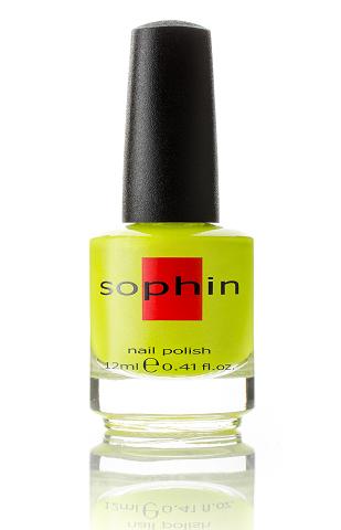 SOPHIN Лак для ногтей, лимонный неоновый со слегка уловимым голографическим шиммером 12мл