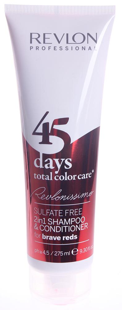 REVLON Шампунь-кондиционер тонирующий для ярких красных оттенков / REVLONISSIMO COLOR CARE 275мл~Кондиционеры<br>Шампунь-кондиционер с очень нежной и мягкой текстурой, не содержащий сульфатов и гарантирующий полное сохранение цвета волос красных оттенков на целых 45 дней. Благодаря провитамину В5 и поликвартениуму-55 придает волосам потрясающую эластичность, отличный блеск и защищает от вредных воздействий ультрафиолетовых лучей. Экстракт клюквы, который является сильным природным антиоксидантом, обеспечивает восстановление структуры волос, благоприятное влияет на кожу головы и устраняет воздействие свободных радикалов. Великолепное средство очищения волос, ухода за ними и поддержания интенсивности цвета волос до следующей процедуры окрашивания. Подходит для ежедневного применения. Активные ингредиенты: поликвартениум-55 - пленкообразующий полимер, экстракт клюквы - мощный природный антиоксидант, провитамин В5. Способ применения: нанести на влажные волосы, помассировать до образования пены, после чего тщательно смыть теплой водой.<br><br>Тип: шампунь-кондиционер<br>Вид средства для волос: Тонирующий<br>Типы волос: Окрашенные