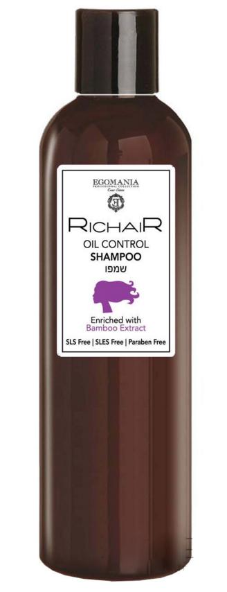 EGOMANIA Шампунь для контроля жирности кожи головы с экстрактом бамбука / RICHAIR 400мл