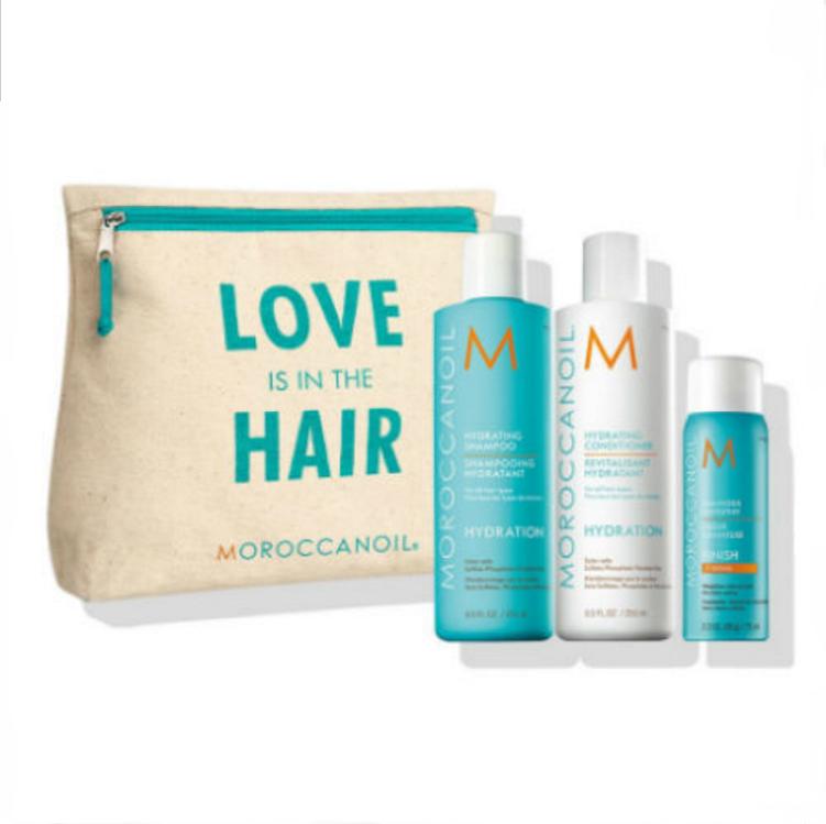 MOROCCANOIL Набор Love Is In The Hair Увлажнение Light (шампунь 250 мл, кондиционер 250 мл, сухой шампунь для светлых волос 65 мл, масло 25 мл) / Moroccanoil