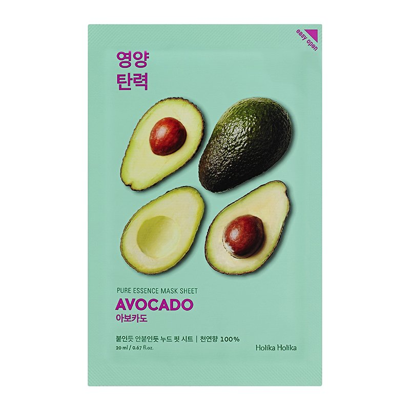 HOLIKA HOLIKA Маска тканевая смягчающая (авокадо) Пьюр Эссенс / Pure Essence Mask Sheet Avocado 20мл holika holika смягчающая тканевая маска пьюр эссенс авокадо 20 мл смягчающая тканевая маска пьюр эссенс авокадо 20 мл 20 мл