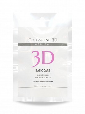 MEDICAL COLLAGENE 3D Маска альгинатная с розовой глиной для лица и тела / Basic Care 30 г